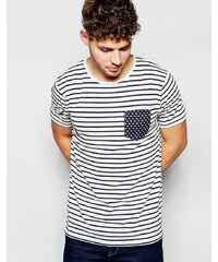 Brave Soul - T-shirt rayé avec poche à étoiles - Bleu