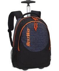 BestWay Školní batoh na kolečkách BestWay 40028-0114 černá / oranžová