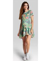 Happymum Zelené květované těhotenské šaty Jungle