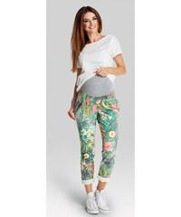 Happymum Zelené květované těhotenské kalhoty Jungle