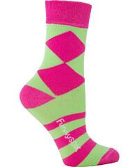 Funny SOX Dámské zeleno-růžové ponožky HappyDay