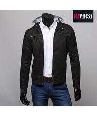 Re-Verse Veste imitation cuir velours avec capuche de sweat