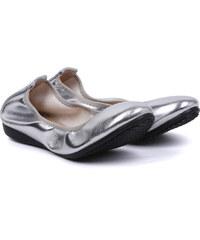 Lesara Ballerina in glänzender Leder-Optik - Silber - 35