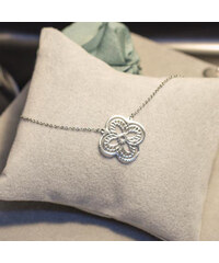 Lesara Halskette mit Kleeblatt-Anhänger - Silber