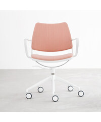 Židle na kolečkách Gas Swivel, růžová/lakovaná bílá