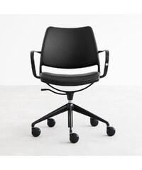 Židle na kolečkách Gas Swivel, černá kůže/černá