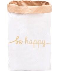 Eulenschnitt Papiersack mit goldener Be Happy Aufschrift
