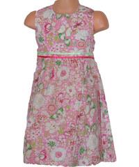 Topo Dívčí květované šaty se sklady - růžové