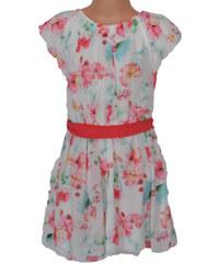 Topo Dívčí květované šaty - bílorůžové