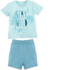 Pinokio Chlapecké pyžamo s lesními zvířátky, krátký rukáv - světle modré