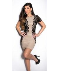 Koucla Béžové elegantní šaty s krajkou