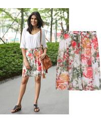 Lesara Rock mit Blumen-Muster & Zierschleife - S