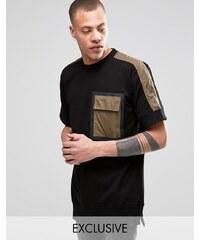 Black Eye Rags - Sweat à manches courtes avec poche bordée de ruban - Vert
