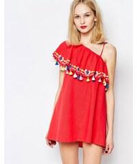 Piper - Java - One-Shoulder-Kleid mit Rüschen und Quasten - Rot