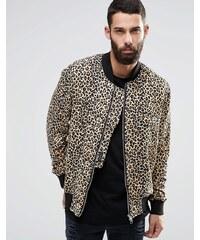 Religion Leopard - Bomber en jersey imprimé léopard - Marron