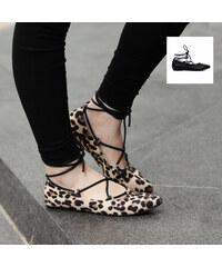 Lesara Ballerines à lacets avec motif léopard