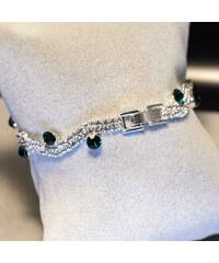 Lesara Gewelltes Strass-Armband mit Kristallen - Grün