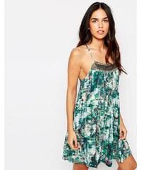 Hazel - Robe caraco avec empiècement à ornement - Vert