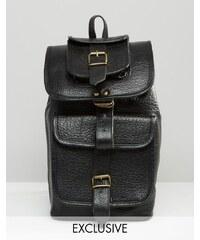 Reclaimed Vintage - Rucksatck aus Premium-Leder mit langen Riemen - Schwarz