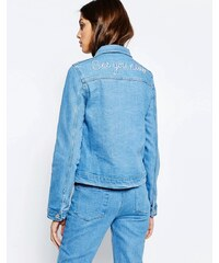 See You Never Denim See You Never - Jeansjacke mit Stickerei hinten - Blau
