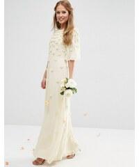 ASOS BRIDAL - Robe longue à manches évasées et motif fleurs 3D - Blanc