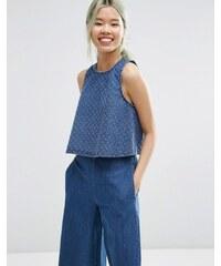 ASOS - Top en jean coordonné à découpes - Bleu à délavage moyen - Bleu