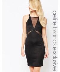 John Zack Petite - Ärmelloses, figurbetontes Kleid mit tiefem Ausschnitt und Netzeinsatz - Schwarz
