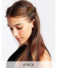 Kat&Bee Kat & George - Neonfarbene Haarklammern mit Perlen in Herz- und Sternform im Viererpack - Mehrfarbig