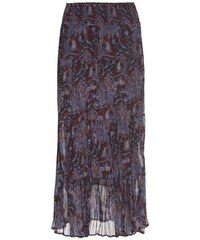COOL CODE Damen Chiffonrock mit Glanz-Streifen knöchellang rot
