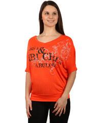 TopMode Dámské tričko s potiskem lichotící postavě oranžová
