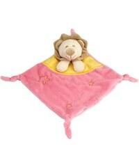 Les Bébés d Elysea Napoleon - Doudou plat - le Lion beige, jaune et rose