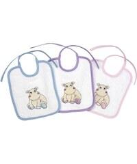 Les Bébés d Elysea Hippo - Set de 3 bavoirs - violet