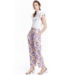 H&M Vzorované saténové kalhoty