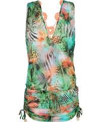 Luli Fama Robe De Plage Tropical, Dos En Macramé Fluo - Nice Mini Dress