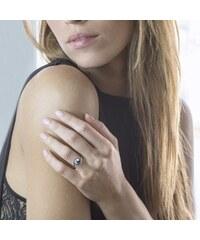 KLENOTA Stříbrný prsten s černou perlou