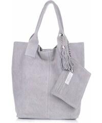 Genuine Leather Kožené kabelky Shopperbag přírodní semiš Světle šedá