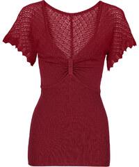 BODYFLIRT Top en maille rouge manches courtes femme - bonprix