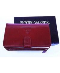 Kožená peněženka Emporio Valentini z prémiové kůže - Vínová, Barva Vínová Wild by loranzo 563-st01