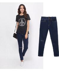 Lesara High Waist-Jeans mit Knie-Cut-Out - 36