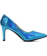 Lesara Spitzer Pumps in glänzendem Design - Blau - 35