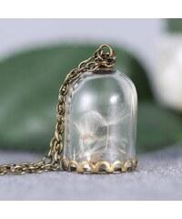 Lesara Halskette mit Glas-Anhänger samt echter Pusteblume