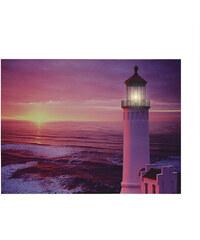 Lunio Color LED-Leinwanddruck Leuchtturm - Sonnenuntergang