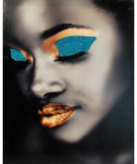 Lesara Großer Leinwanddruck mit Glitzer Broadway - Gold / Blau