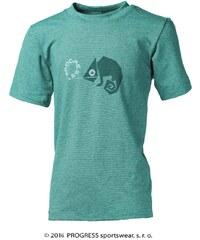 Progress Dětské bambusové tričko chameleon(tyrkys)