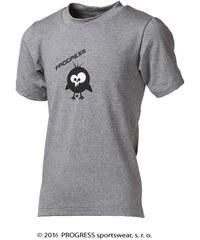 Progress Dětské bambusové tričko ptáček (šedý melír)