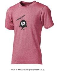 Progress Dětské bambusové tričko ptáček (růžový melír)