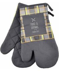 Kuchyňské bavlněné rukavice chňapky FOOD AND DRINKS, šedá, 100% bavlna 18x30 cm Essex