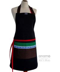 Zástěra Anamo lidová černá s hnědou kapsou