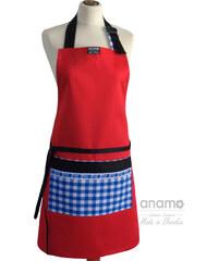 Zástěra Anamo lidová červená s kapsou s modrým vzorem