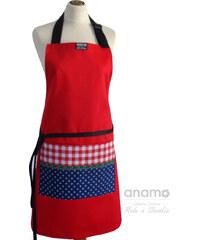 Zástěra Anamo lidová červená s kapsou s modrotiskem